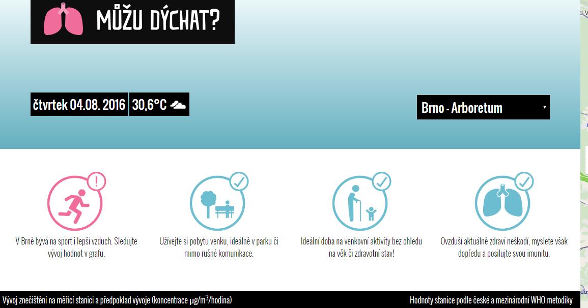 Nová aplikace Můžu dýchat? ukáže, jaké je v Brně ovzduší