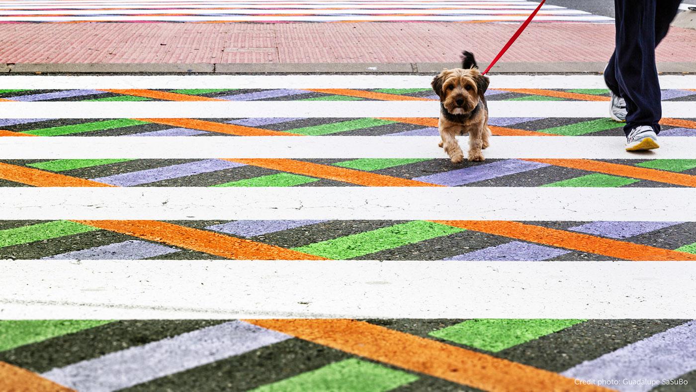 Kreativní umělec rozzářil přechody v Madridu barvami