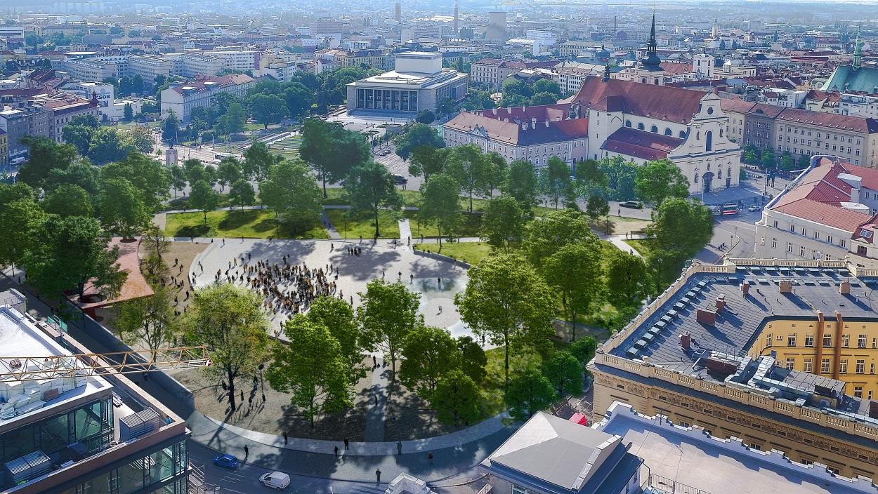 Moravské náměstí v Brně bude mít novou podobu. Přibude kluziště i kavárna