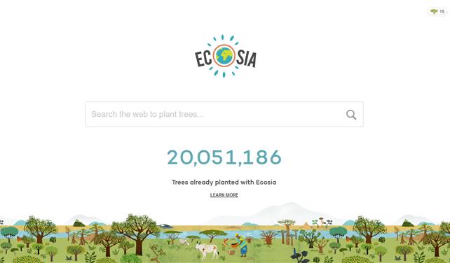 Vyhledávač Ecosia vysazuje za vyhledávání uživatelů stromy