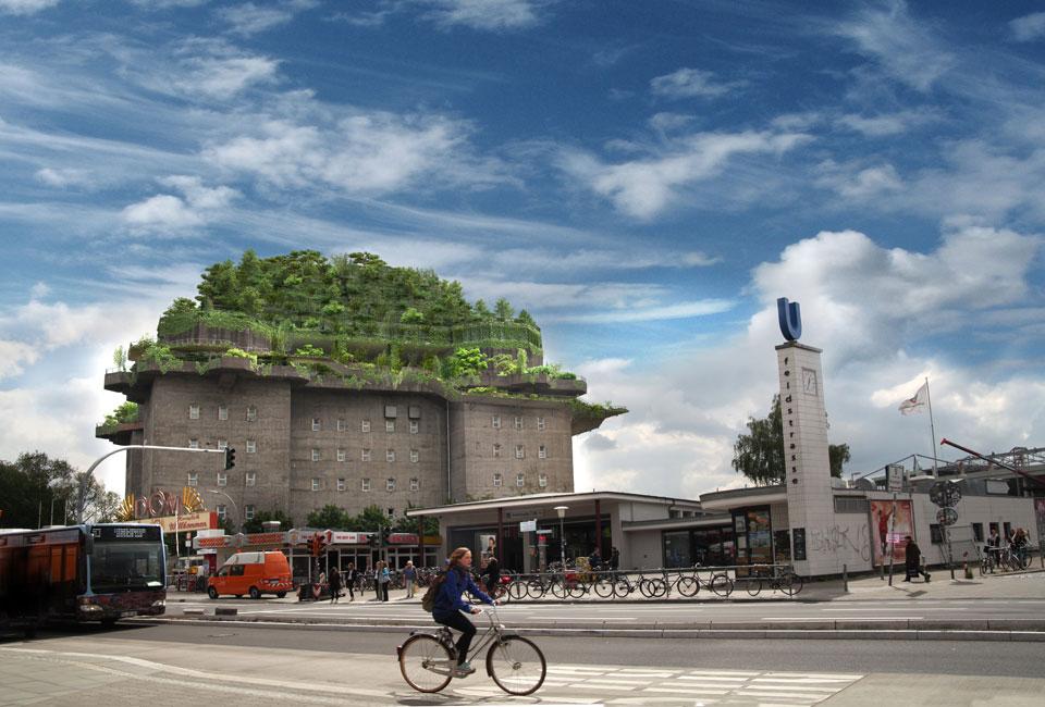 Protiletecká věž v Hamburku se promění v zelenou oázu