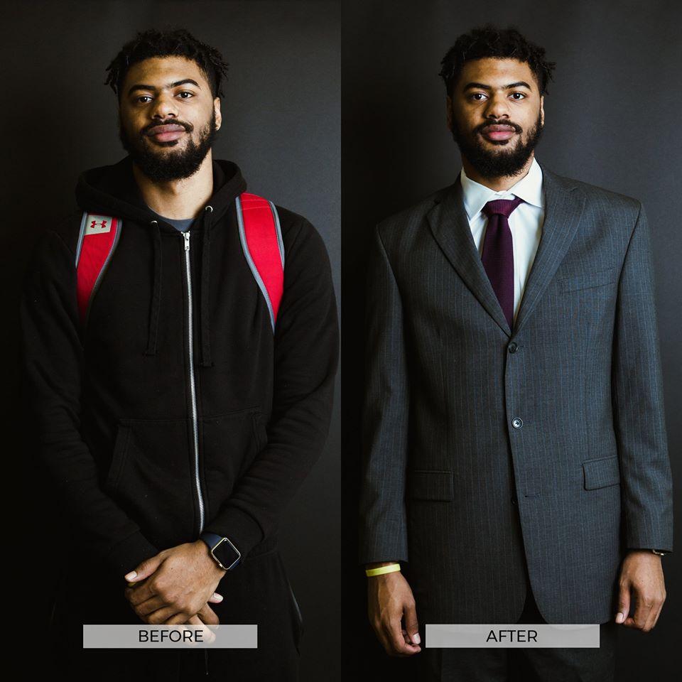 Otec se synem rozdávají lidem v nouzi obleky zdarma